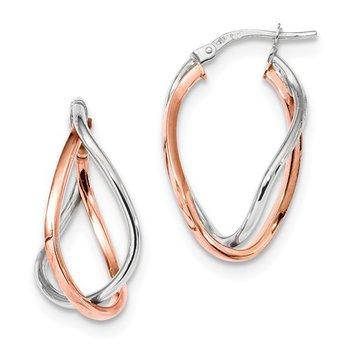 14k White and Rose Gold Fancy Hoop Earrings