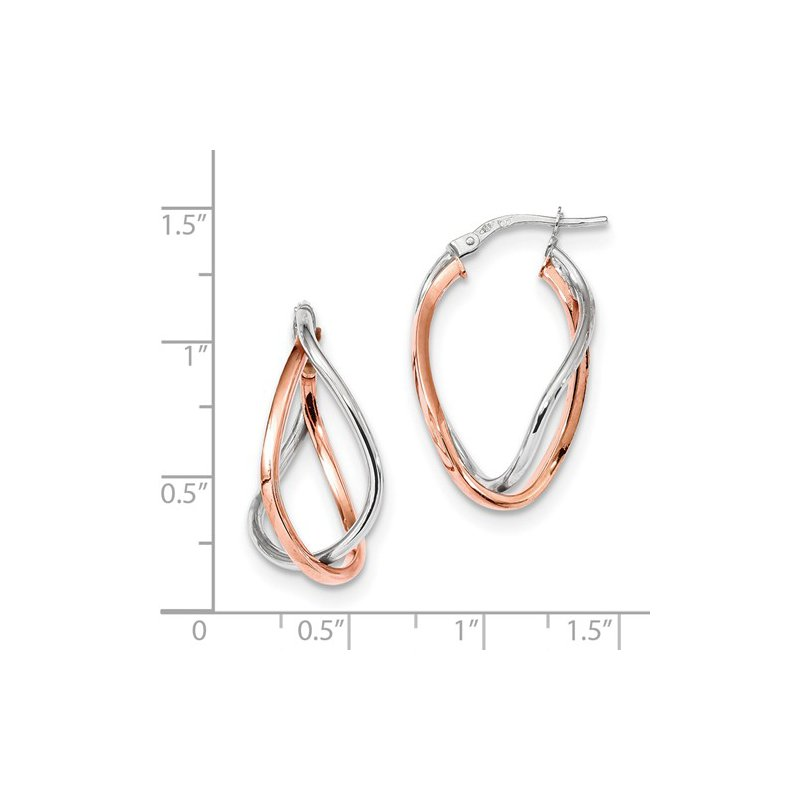 Signature Collection 14k White and Rose Gold Fancy Hoop Earrings
