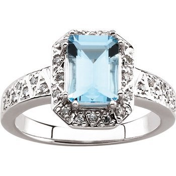 Genuine Aquamarine & Diamond Ring