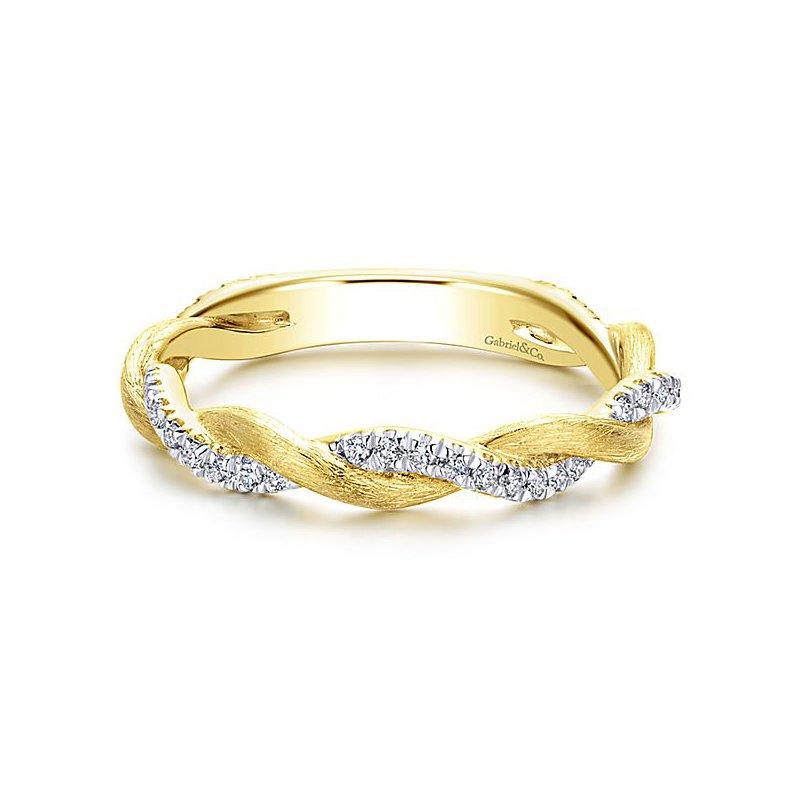 Gabriel NY Gabriel NY 14k Yellow Gold Braided Diamond Stack Ring