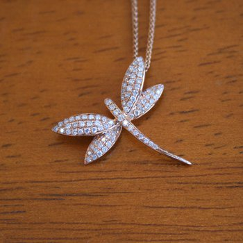 18k Rose Gold Diamond Dragonfly Pendant