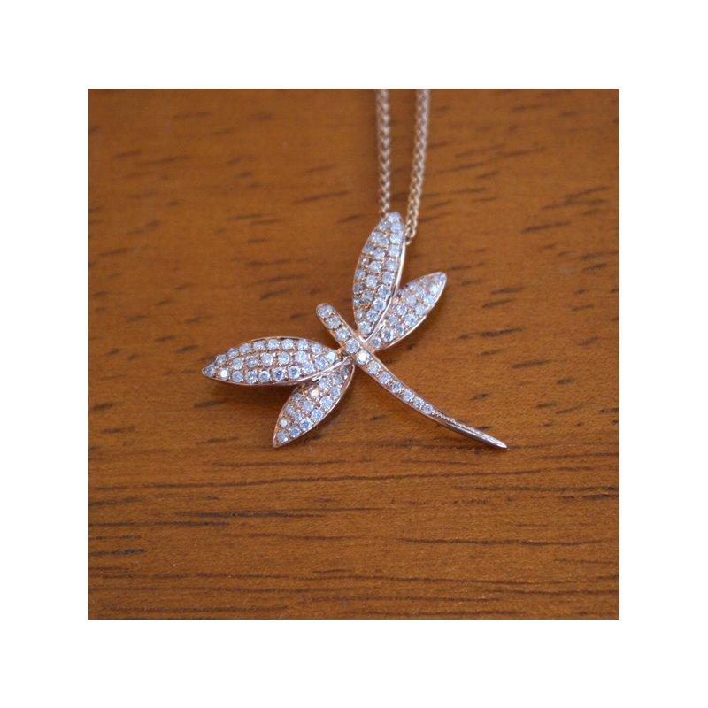Clearance 18k Rose Gold Diamond Dragonfly Pendant