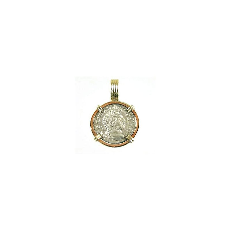 Coin Jewelry Genuine Ancient Roman Dinarius Silver Coin framed in 14k Yellow Gold