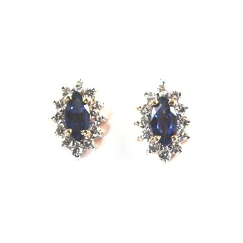 Genuine Blue Sapphire & Diamond Earrings - 6527