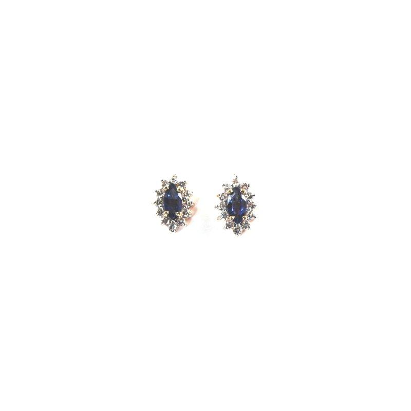 Signature Collection Genuine Blue Sapphire & Diamond Earrings - 6527