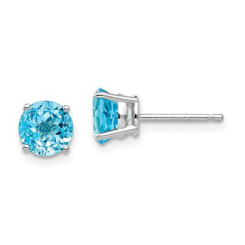14k White Gold 6mm Round Blue Topaz Stud Earrings
