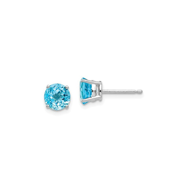 Signature Collection 14k White Gold 6mm Round Blue Topaz Stud Earrings