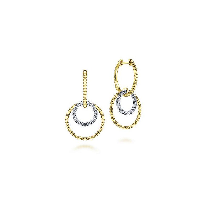 Signature Collection 14K White-Yellow Gold Twisted Rope and Diamond Open Circle Huggie Drop Earrings