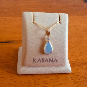 Kabana 14k Yellow Gold Teardrop Pendant with White Mother of Pearl and Diamond