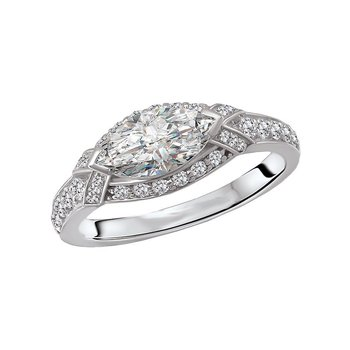 14k White Gold East West Marquise Halo Diamond Ring