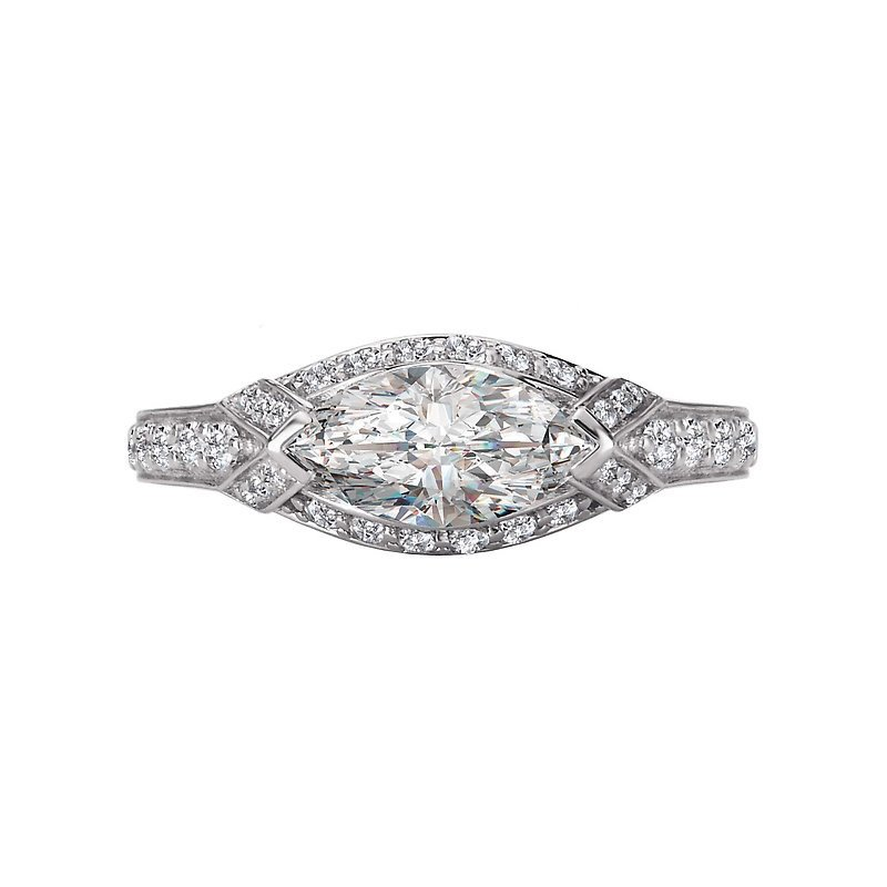 Signature Collection 14k White Gold East West Marquise Halo Diamond Ring