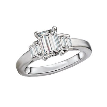 14k White Gold Emerald Cut Baguette Engagement Ring Mounting