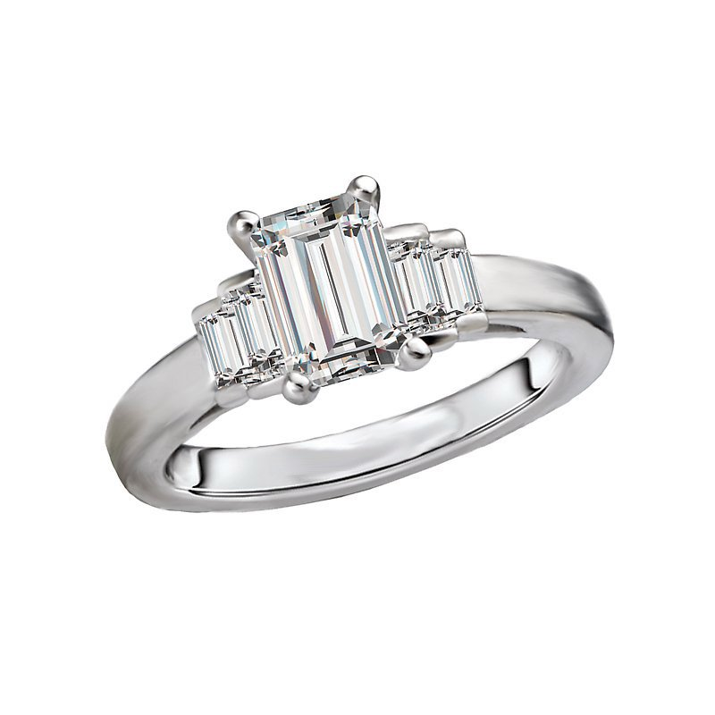 Signature Collection 14k White Gold Emerald Cut Baguette Engagement Ring Mounting