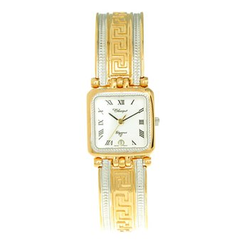Classique' Ladies Two Tone Greek Key 1/2 Bangle Watch - #9-100
