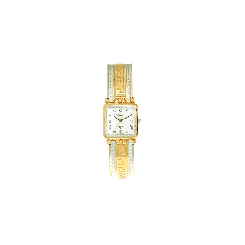 Swiss Watches Classique' Ladies Two Tone Greek Key 1/2 Bangle Watch - #9-100