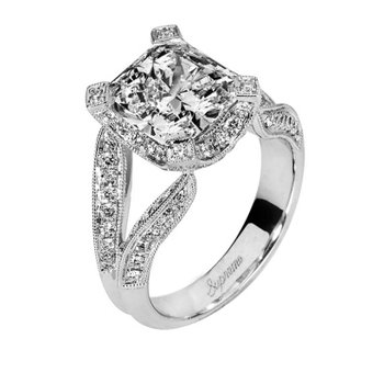2 ct Center 18k White Gold Radiant Cut Diamond Ring - P138773-W_L