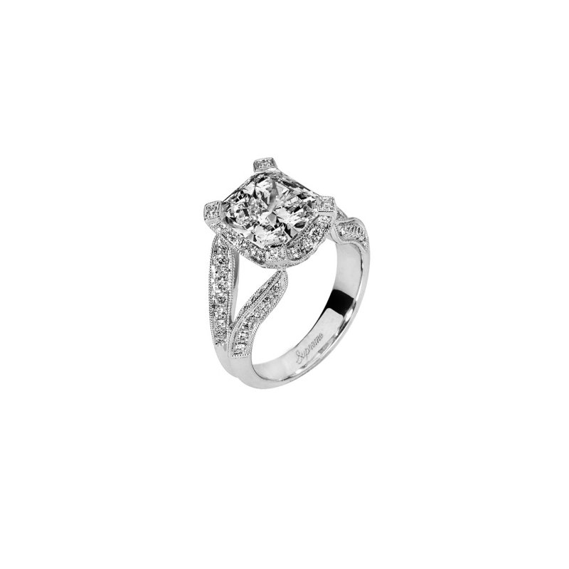 Signature Collection 2 ct Center 18k White Gold Radiant Cut Diamond Ring - P138773-W_L