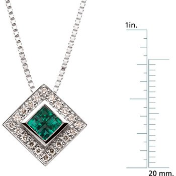 Genuine Emerald & Diamond Necklace - EL418134