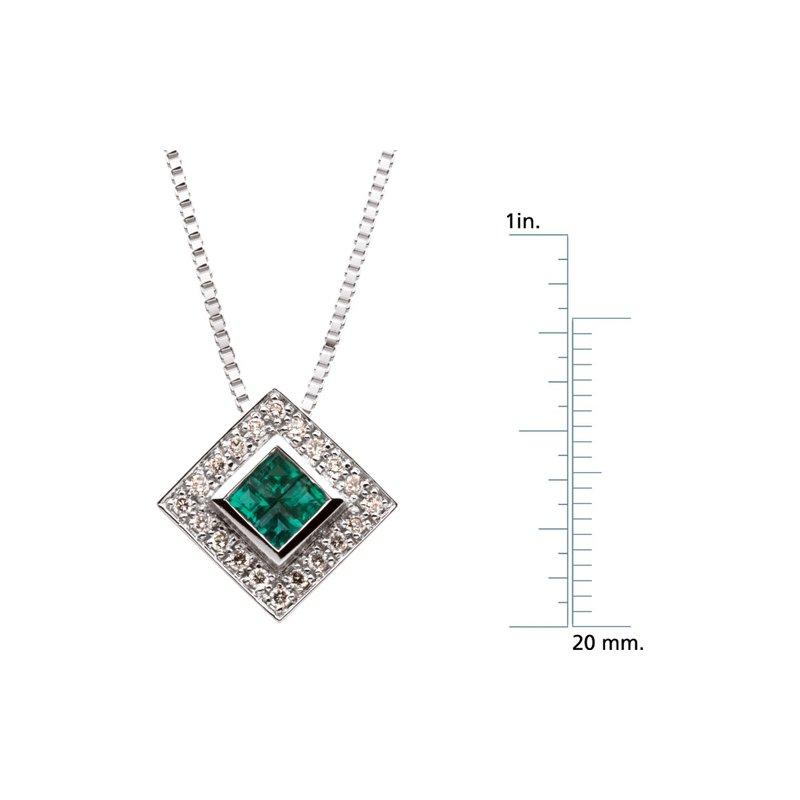 Signature Collection Genuine Emerald & Diamond Necklace - EL418134