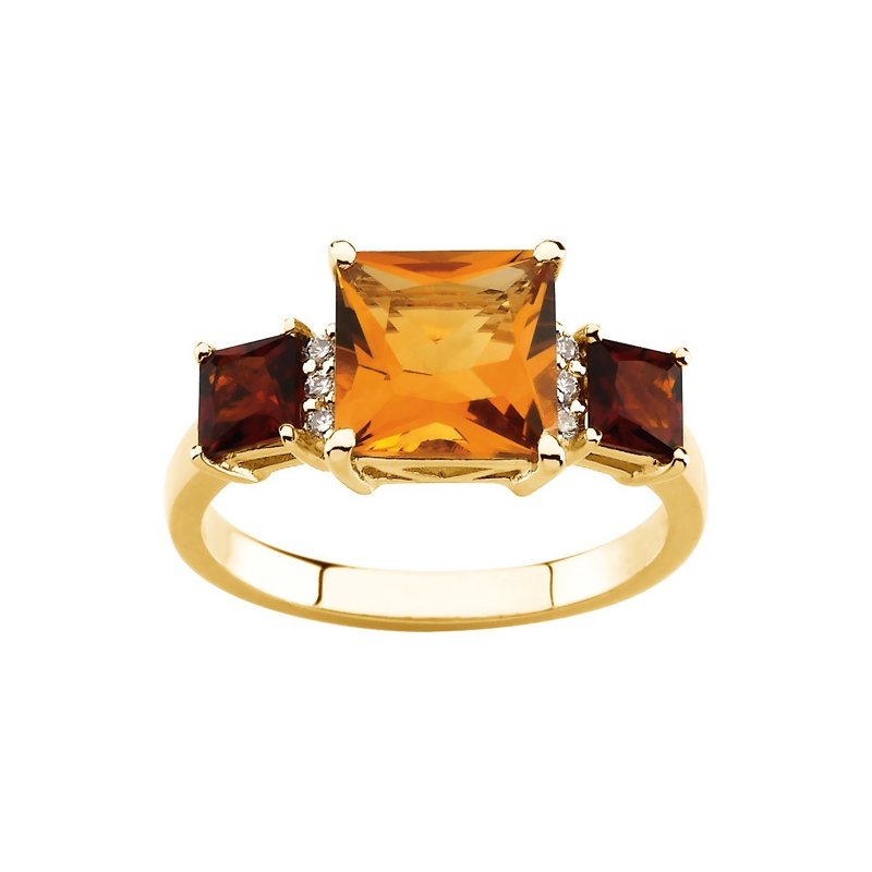 Signature Collection Genuine Citrine, Madeira Citrine & Diamond Ring