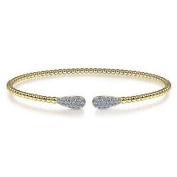 "14k Yellow Gold 6 1/4"" Bujukan Bead Cuff Bracelet with Diamond Pave' Teardrops by Gabriel NY"