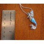 Kovel Sealife Sterling Silver Mermaid Pendant with Kyocera Lab Created Synthetic Opal and Blue Topaz
