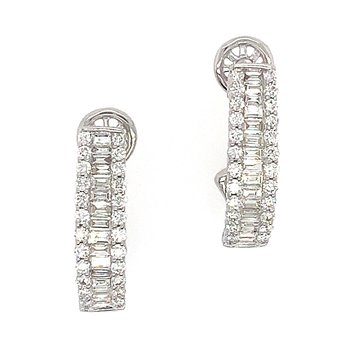14k White Gold Baguette and Round Diamond Earrings