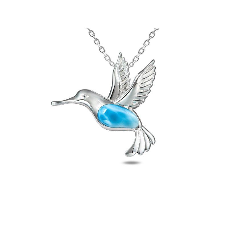Alamea Larimar  Sterling Silver Hummingbird Pendant with Larimar.
