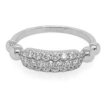 14k White Gold 3-Row Diamond Pave' Ring