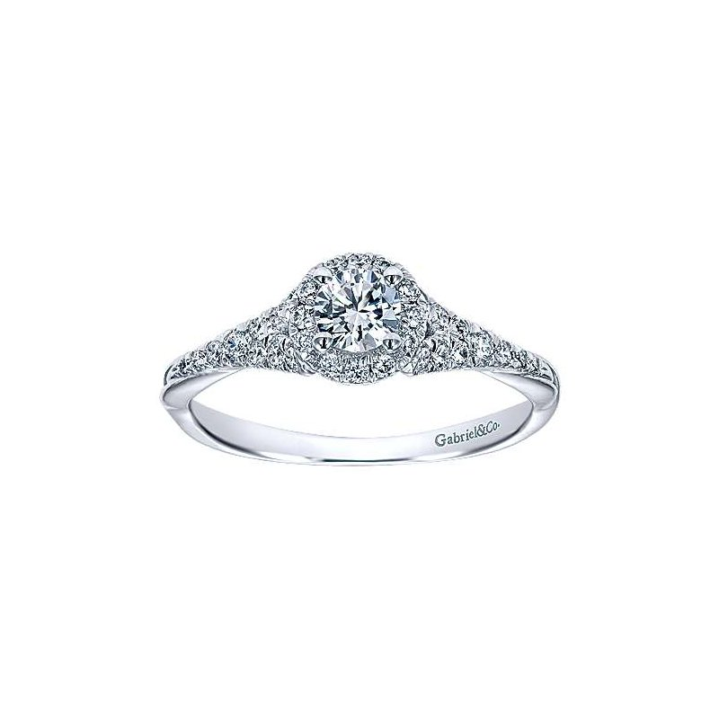 Gabriel NY Adore Collection Sonoma 14k White Gold Round Halo Engagement Ring