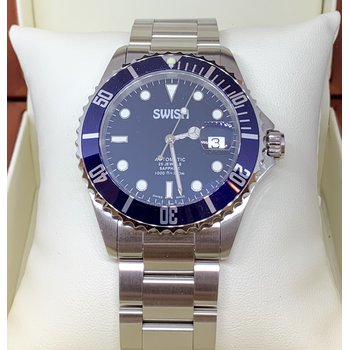 SWISH Swiss Made Automatic Watch with Rotating Blue Bezel - Style #SW102