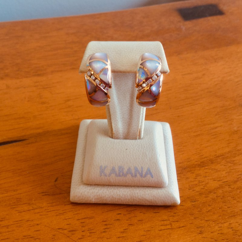 Kabana Jewelry 14k Rose Gold Omega Back Pink Mother of Pearl Earrings with Diamonds by Kabana