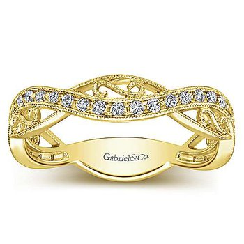 14k Yellow Gold Scroll Diamond Stack Ring