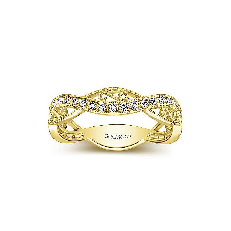 Signature Collection 14k Yellow Gold Scroll Diamond Stack Ring