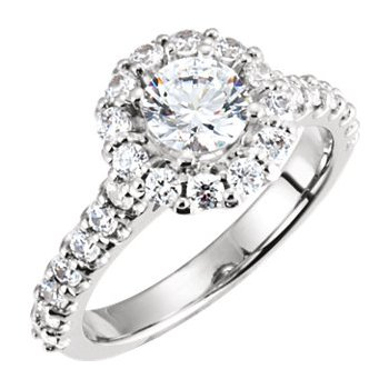 14k White Gold Round Halo Engagement Ring - #39661