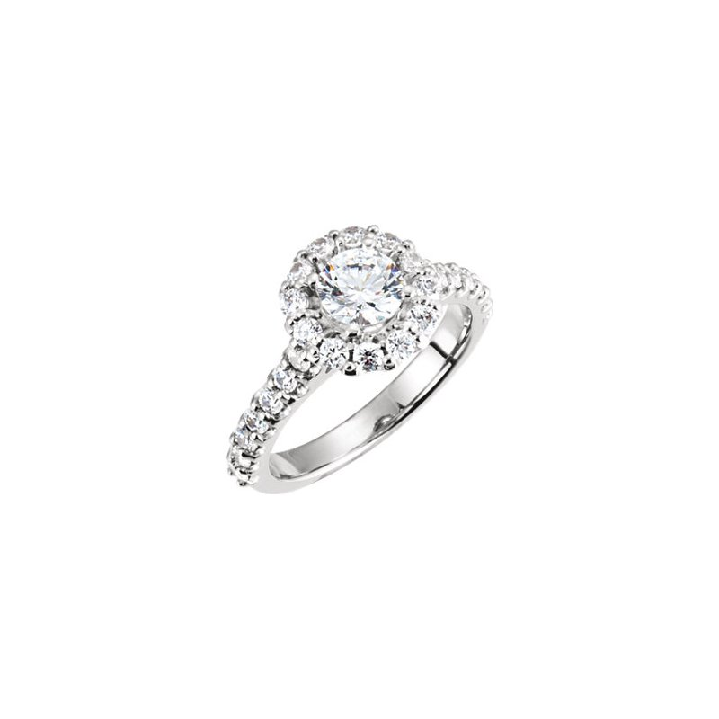 Signature Collection 14k White Gold Round Halo Engagement Ring - #39661