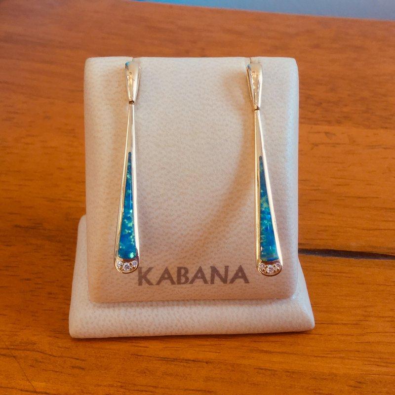 Kabana Jewelry Kabana Australian Opal and Diamond Dangle Earrings in 14k Yellow Gold