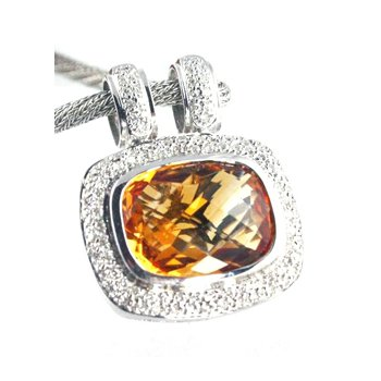 Genuine Citrine and Diamond Pendant in 18k White Gold