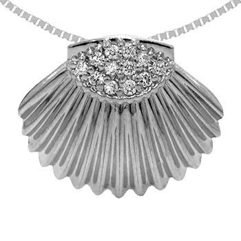 14k White Gold Diamond Shell Pendant