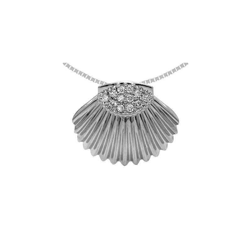 Sealife Jewelry 14k White Gold Diamond Shell Pendant
