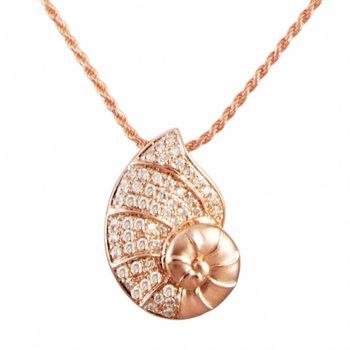 Alamea 14k Rose Gold Diamond Nautilus Pendant