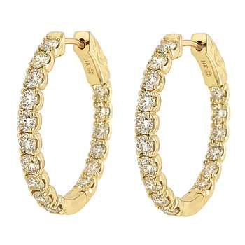 14k Yellow Gold Inside Outside Diamond Hoop Earrings