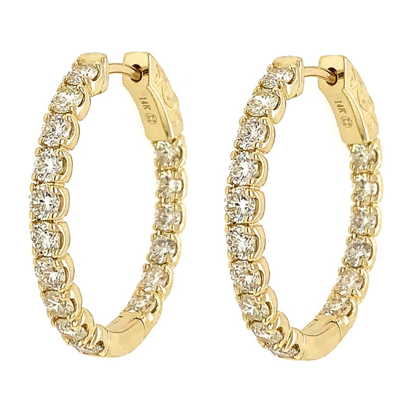 Signature Collection 14k Yellow Gold Inside Outside Diamond Hoop Earrings