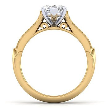 Gabriel NY 14k Yellow Gold Vintage Style Engagement Ring for a Marquise Diamond Center