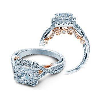 Verragio Insignia 7086P-TT - 18k White and Rose Gold Princess Cut Halo Style Diamond Engagement Ring by Verragio