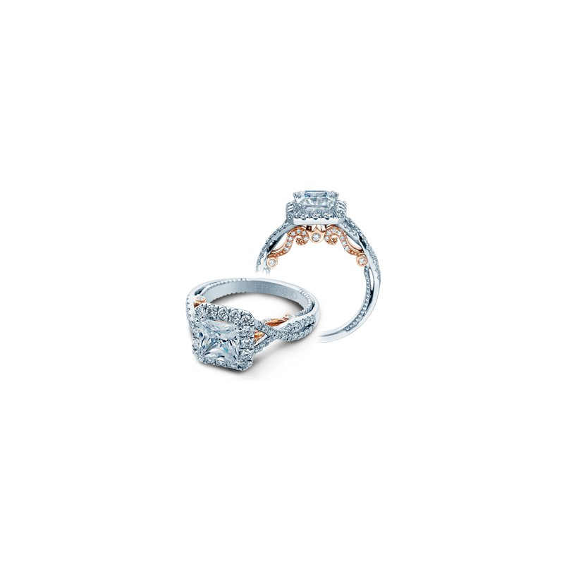 Verragio Verragio Insignia 7086P-TT - 18k White and Rose Gold Princess Cut Halo Style Diamond Engagement Ring by Verragio