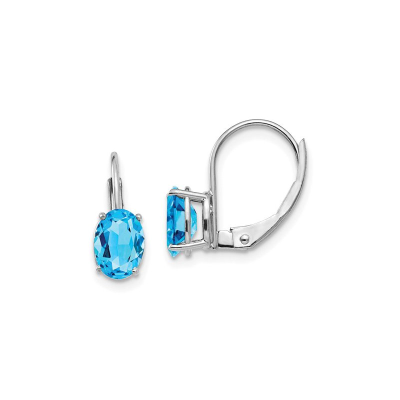Signature Collection 14k White Gold 7x5mm Oval Blue Topaz Leverback Earrings