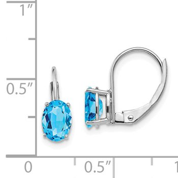 14k White Gold 7x5mm Oval Blue Topaz Leverback Earrings
