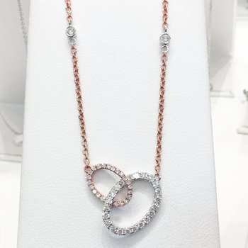 14k White and Rose Gold Diamond Circle Necklace - #40841