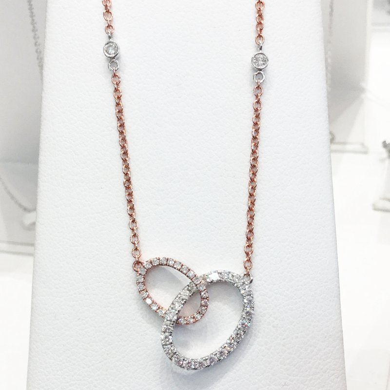 Signature Collection 14k White and Rose Gold Diamond Circle Necklace - #40841